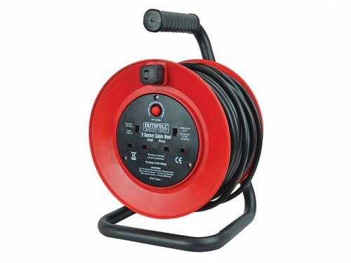 25mtr 240V Cable Reel with 2 Sockets