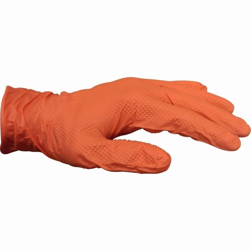 Orange Ideall PF Nitrile Powder Free Grip Gloves (Pack 50)